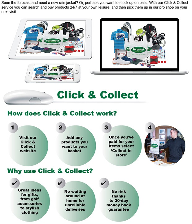 Golf shopping made easy with our Click & Collect