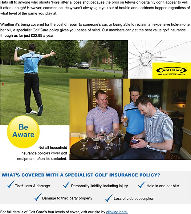 Get the best value golf insurance through us