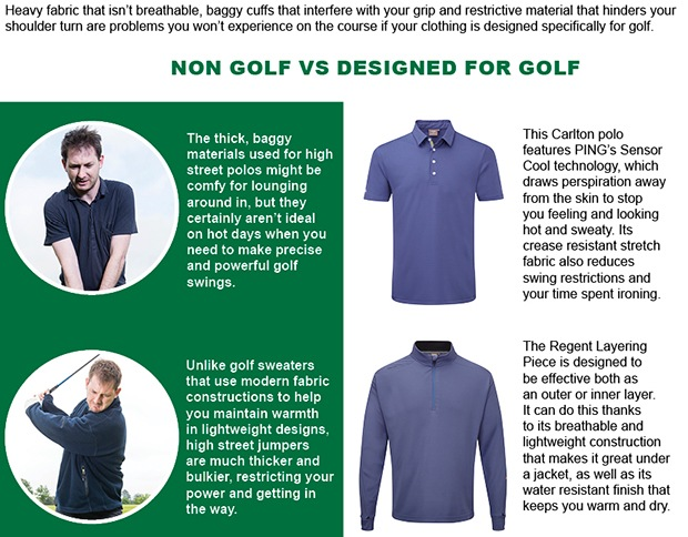 Experience benefits of golf specific clothing