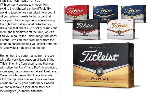 New Titleist golf balls