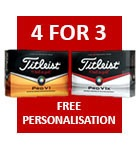 Titleist 4 for 3 with free personalisation - £44.99