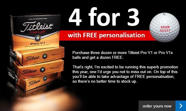 Titleist 4 for 3 with free personalisation £44.99