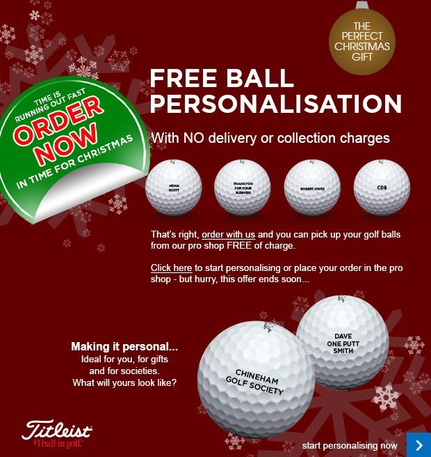 Titleist FREE ball personalisation - from £16.99