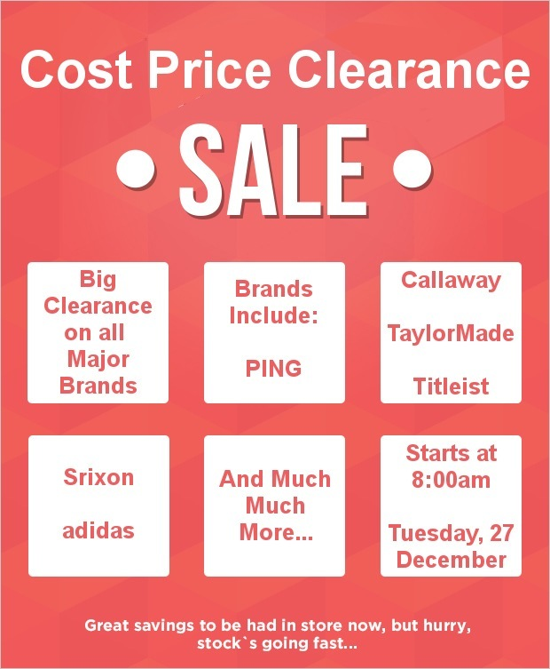 Cost Price Clearance Sale at Manston...