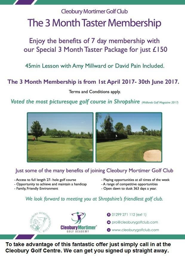 The 3 Month Taster Membership - Cleobury Mortimer GC