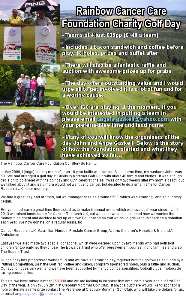 Entries Open For HUGE Event - Rainbow Cancer Care Foundation Charity Golf Day