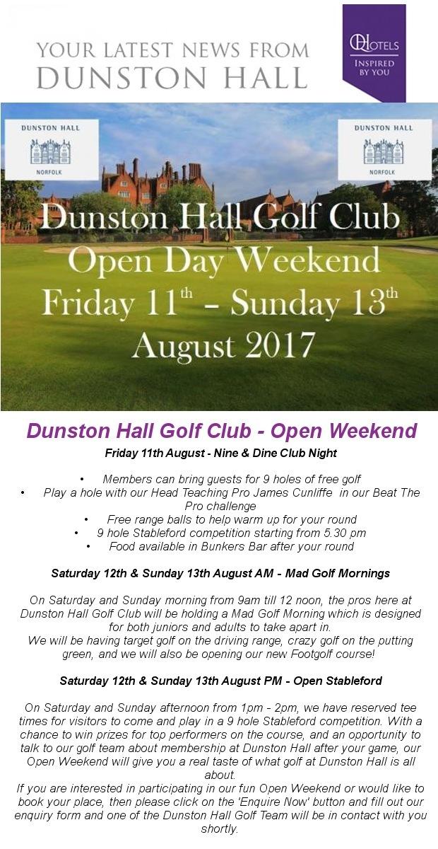 Dunston Hall Golf Club - Open Weekend