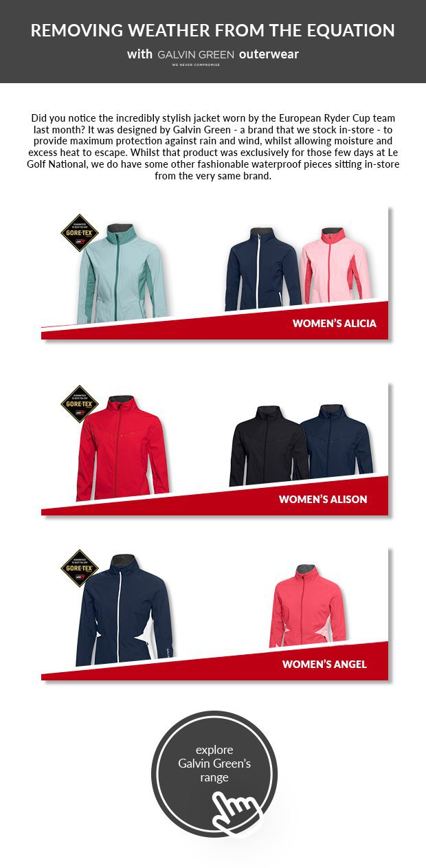 Did you notice the incredibly stylish jacket worn by the European Ryder Cup team last month? It was designed by Galvin Green - a brand that we stock in-store - to provide maximum protection against rain and wind, whilst allowing moisture and excess heat to escape. Whilst that product was exclusively for those few days at Le Golf National, we do have some other fashionable waterproof pieces sizing in-store from the very same brand.