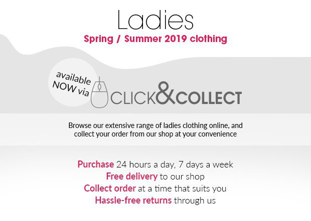 Welcome to our Ladies Shop.Convenient and hassle-free service, delivered to your pro shop for easy collection.Watch the video to find out how our Click & Collect service works.