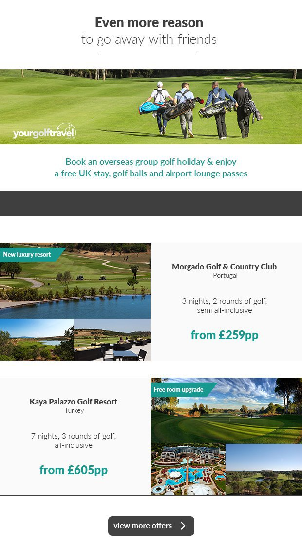Book an overseas group golf holiday and enjoy a free UK stay, golf balls and airport lounge passes.Even more reason to go away with friends.