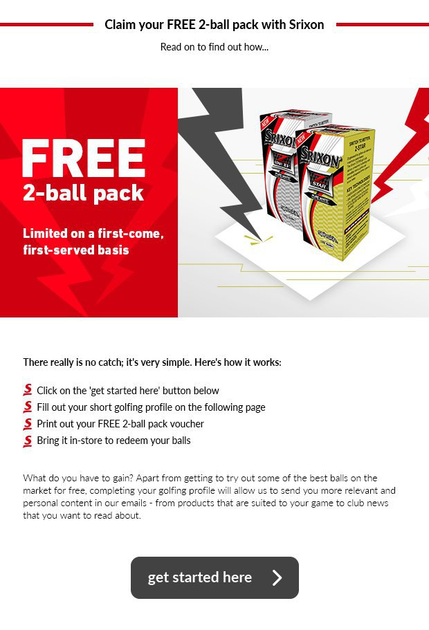 Claim your free 2-ball pack of Srixon golf balls.