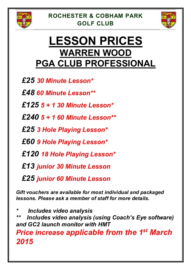 Lesson Prices 2015
