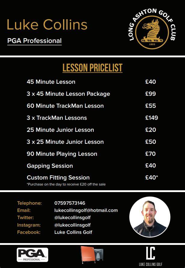 Luke Collins Lesson Prices