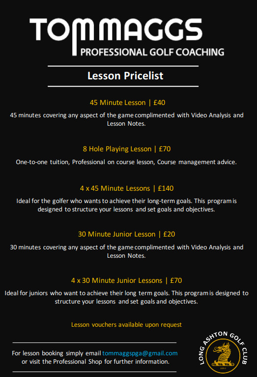 Tom Maggs Lesson Prices